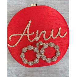 Round Customized Named Clutch RED (Delivery time 3-4 Weeks)