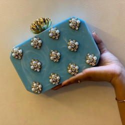 Light Blue Raisin Clutch (Delivery time 3-4 Weeks)