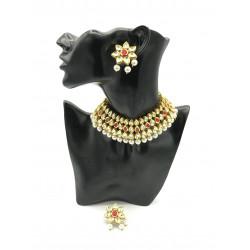 Flower Kundan Necklace Set