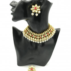 Flower Kundan Necklace Set