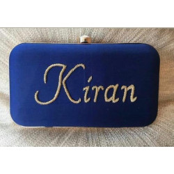 Customized Blue Velvet Clutch (Delivery time 3 to 4 Weeks)