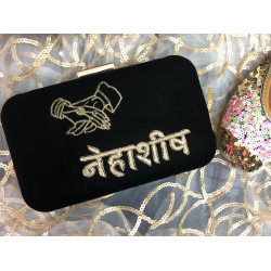Customized Black Velvet Clutch (Delivery time 3 to 4 Weeks)